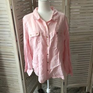 Pink Linen Button Up